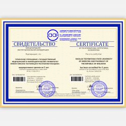 Certificate of the international institutional accreditation